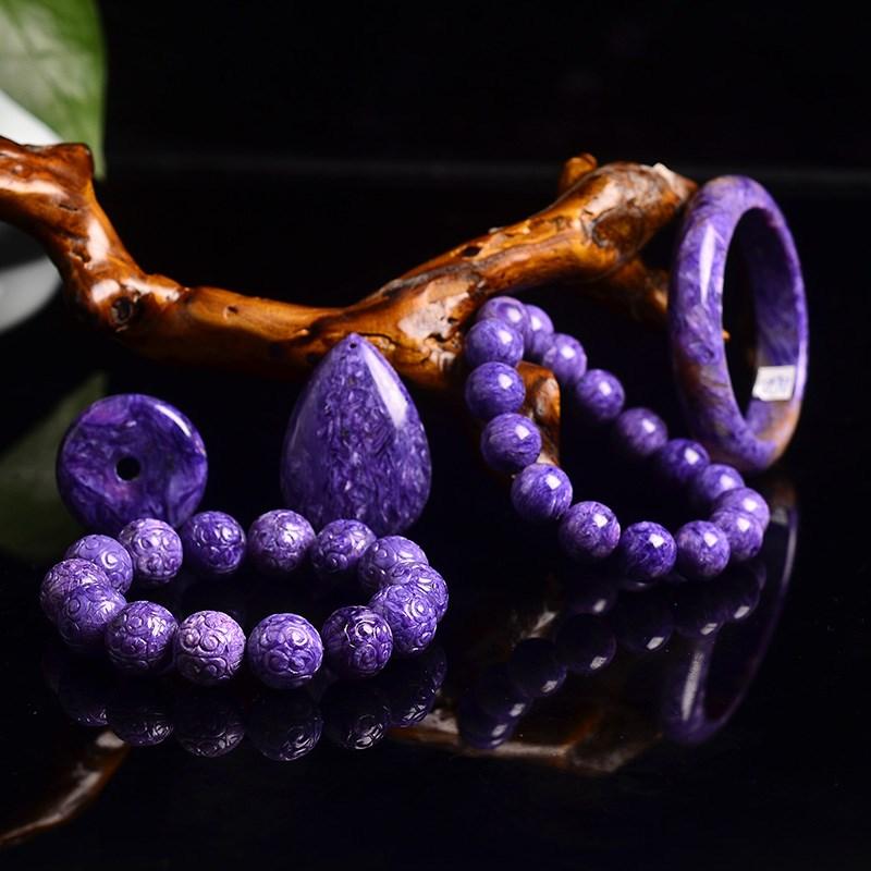 洪晶珠宝天然紫龙晶108颗手链手串佛珠吊坠可附证书直播专拍