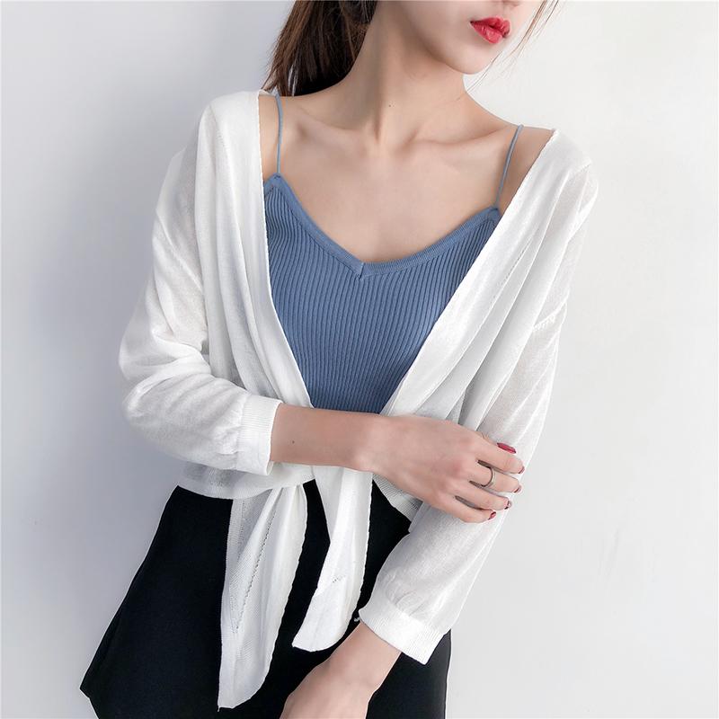 春夏背心外搭棉麻小開衫女薄款七分袖短款針織防嗮披肩空調小外套