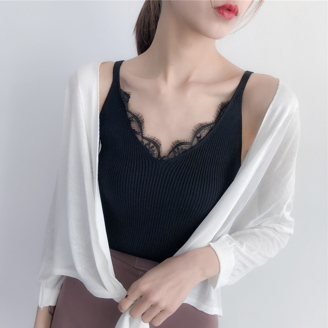 Spring and summer V-neck knitted Black Lace suspender waistcoat for women