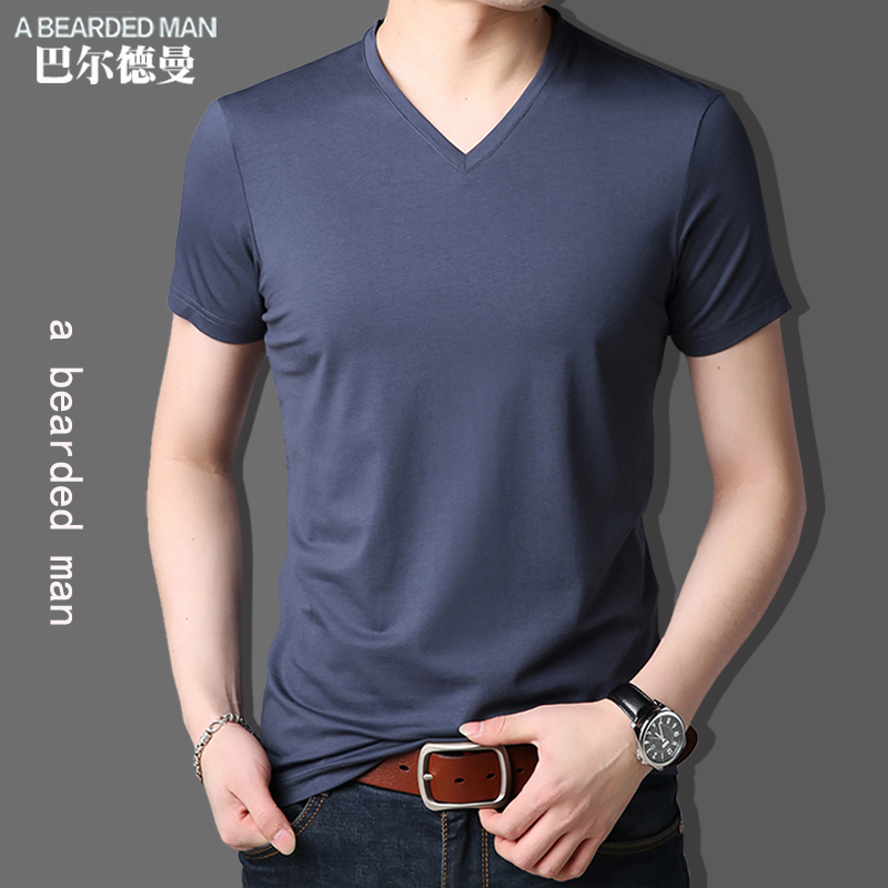 短袖t恤男夏季薄款纯色V领莫代尔棉半袖打底衫冰丝光棉体恤上衣潮