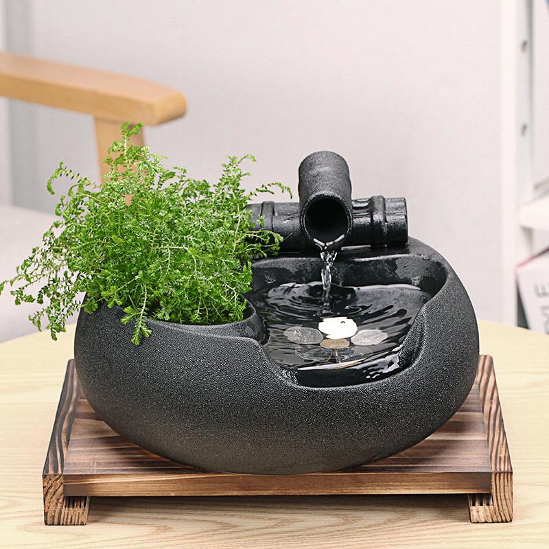 陶瓷流水器家居装饰摆件桌面招财禅意客厅办公室水景鱼缸喷泉礼品