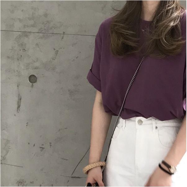 小吉2019新款自制夏番薯紫半袖百搭基础款大热紫色宽松短袖T恤女