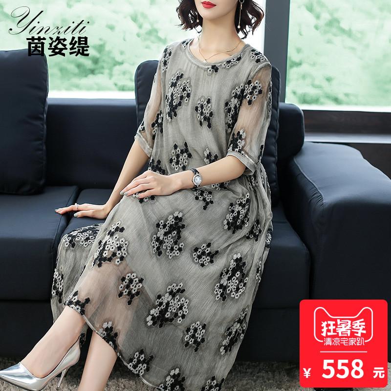 重磅真丝连衣裙2018新款高端大码丝绸女装妈妈杭州桑蚕丝裙子反季