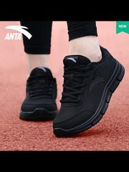 安踏纯黑色运动鞋女鞋春秋季2020新款品牌正品轻便透气旅游跑步鞋