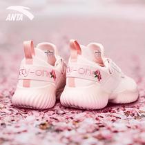 安踏运动鞋女官网夏季网面透气老爹樱花室内舞蹈健身房训练跑步鞋
