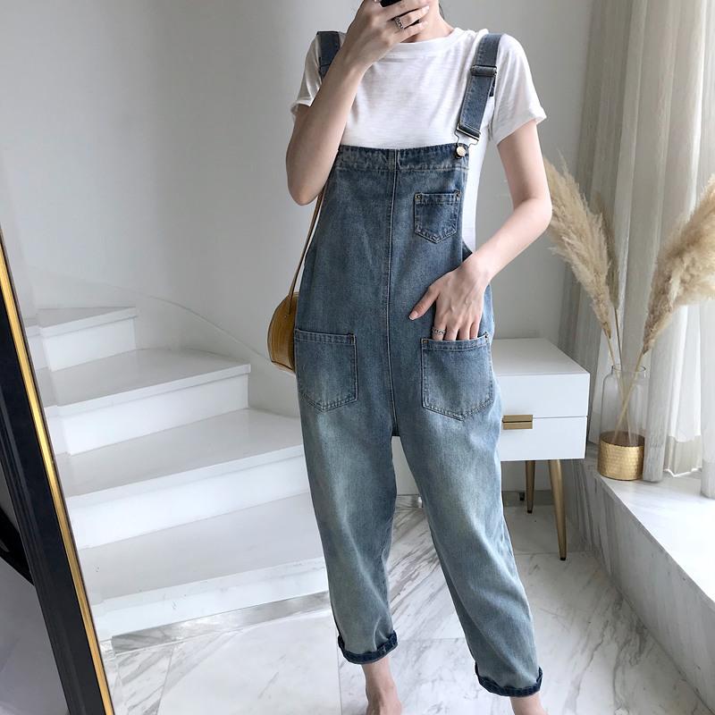 Denim suspenders womens new loose size fat girl Korean versatile nine point suspender Jumpsuit young students