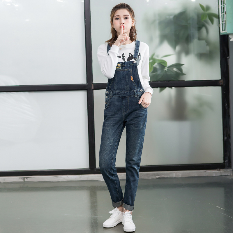 Spring and autumn new youth student loose size denim strap pants womens washing versatile Jumpsuit Suspenders