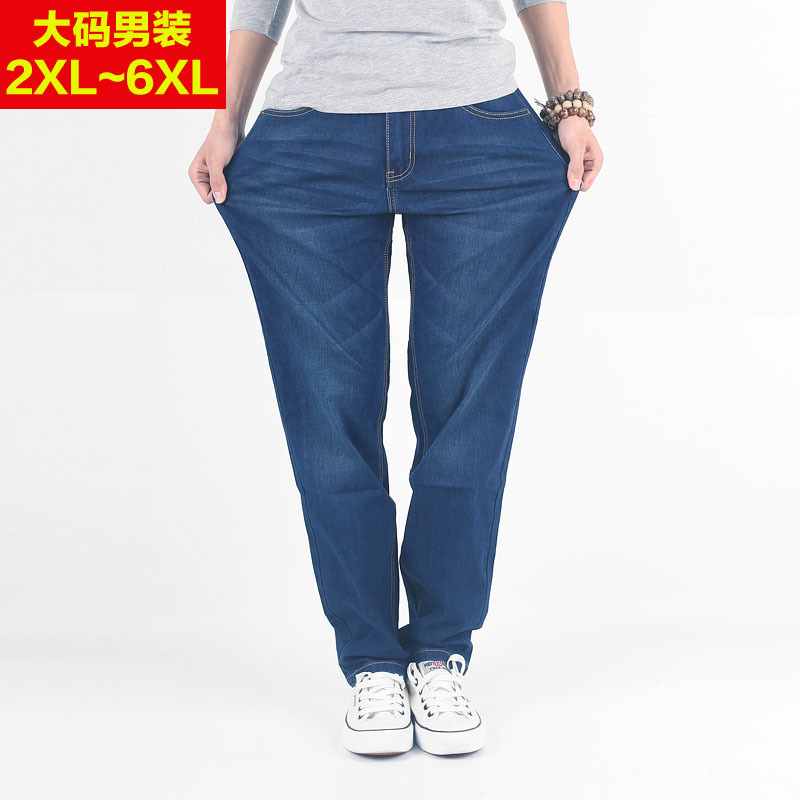 Loose and fat plus size versatile straight jeans spring and autumn mens fat mens middle aged and young leisure pants