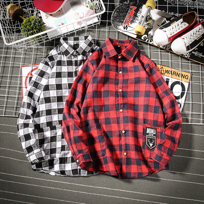 春季新品2019格子宽松大码衬衫男cs15p50棉40%涤纶10%聚酯纤维50%