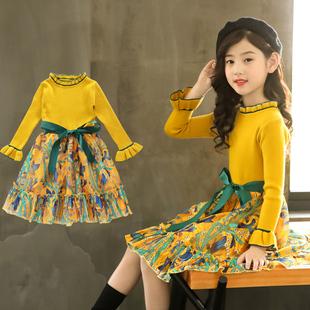 秋冬季2021女童新款百搭加绒毛衣腰带网纱公主裙中大童女孩连衣裙