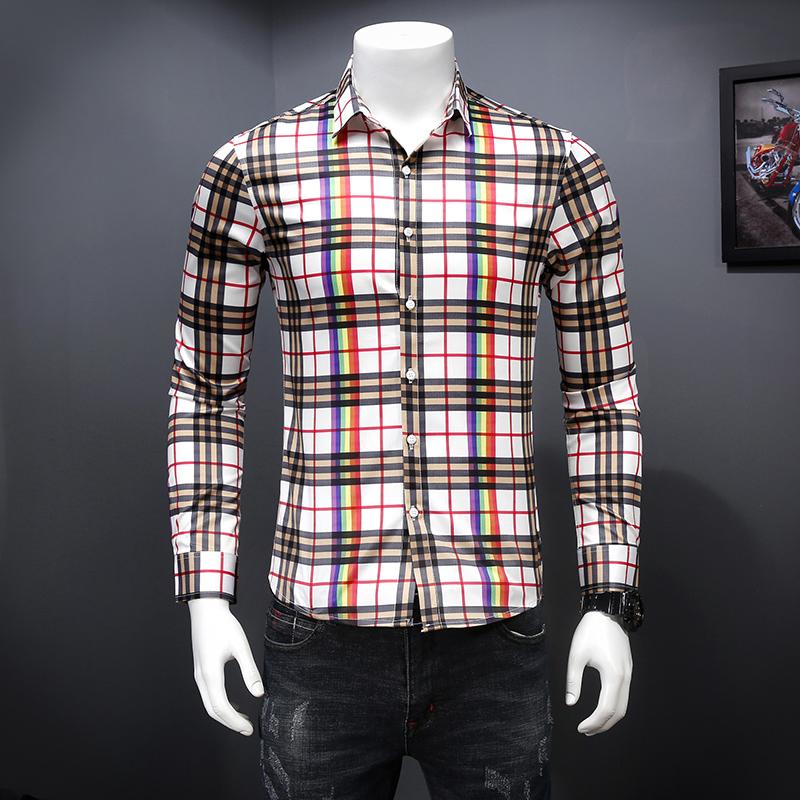 8634 春秋季新款男士格子衬衫 3色韩版修身衬衣潮 P95 m-4xl