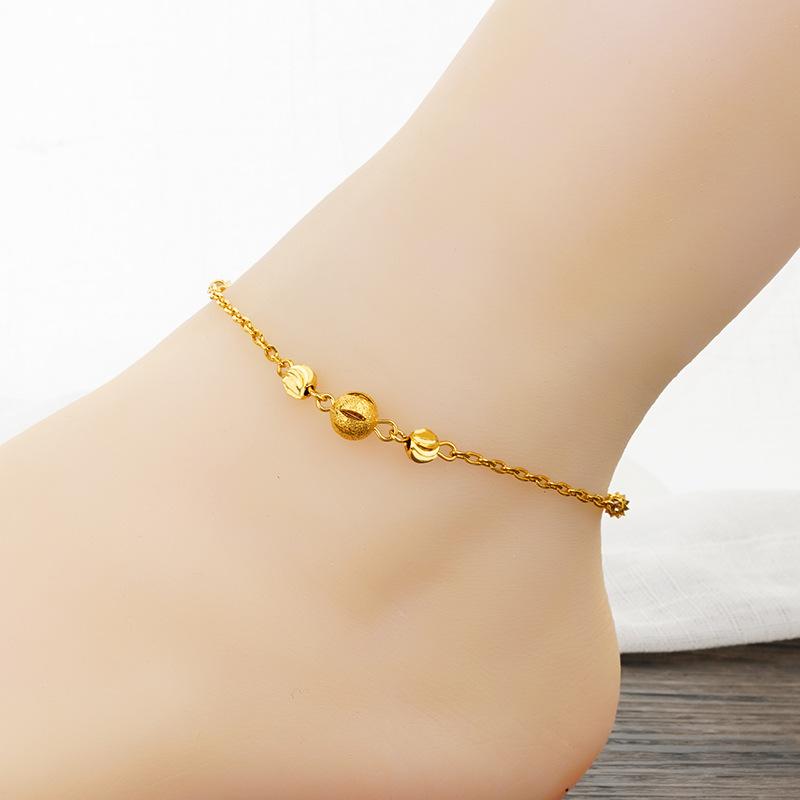 24k黄金脚链女999足金转运珠脚链正品纯金3D硬金磨砂款细链子首饰