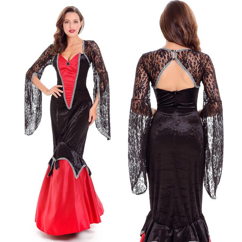 万圣节服装成人女蕾丝吸血鬼女王装性感服装角色扮演舞蹈ds演出服