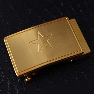3521五角星黄铜自动扣男士战术军迷八一皮带男纯铜腰带扣3.5配件