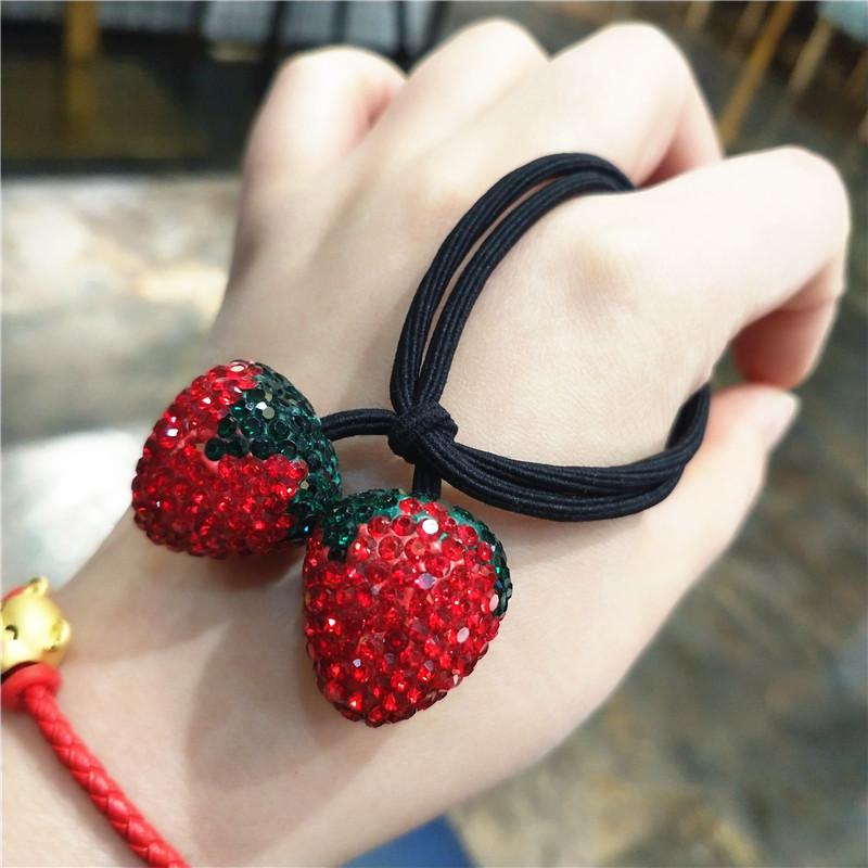 镶钻红草莓发绳甜美日系成人儿童亲子发饰可爱水果头绳绑头发皮筋
