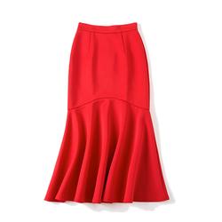 季候风2020秋装新款女装 时尚修身包臀长款荷叶边半身裙女QG840