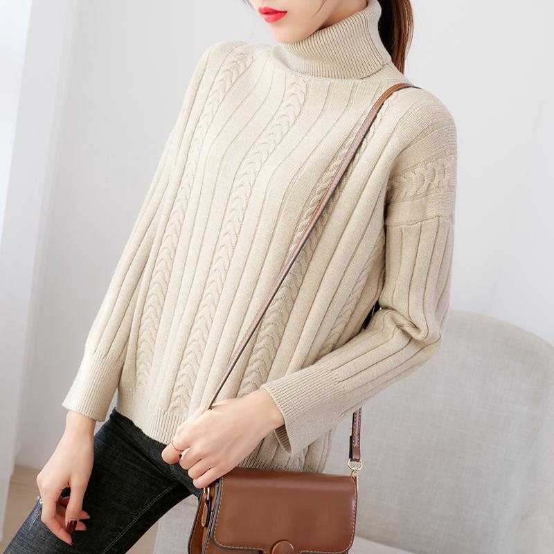 高领毛衣女加厚打底衫时尚宽松外穿配大衣内搭新款长袖针织衫上衣