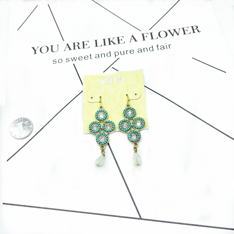 Qingdao Aimei womens jewelry European and American style Chinese knot shape glass pendant temperament simple Earrings