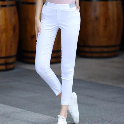 高腰夏装新款显瘦紧身裤修身九分裤
