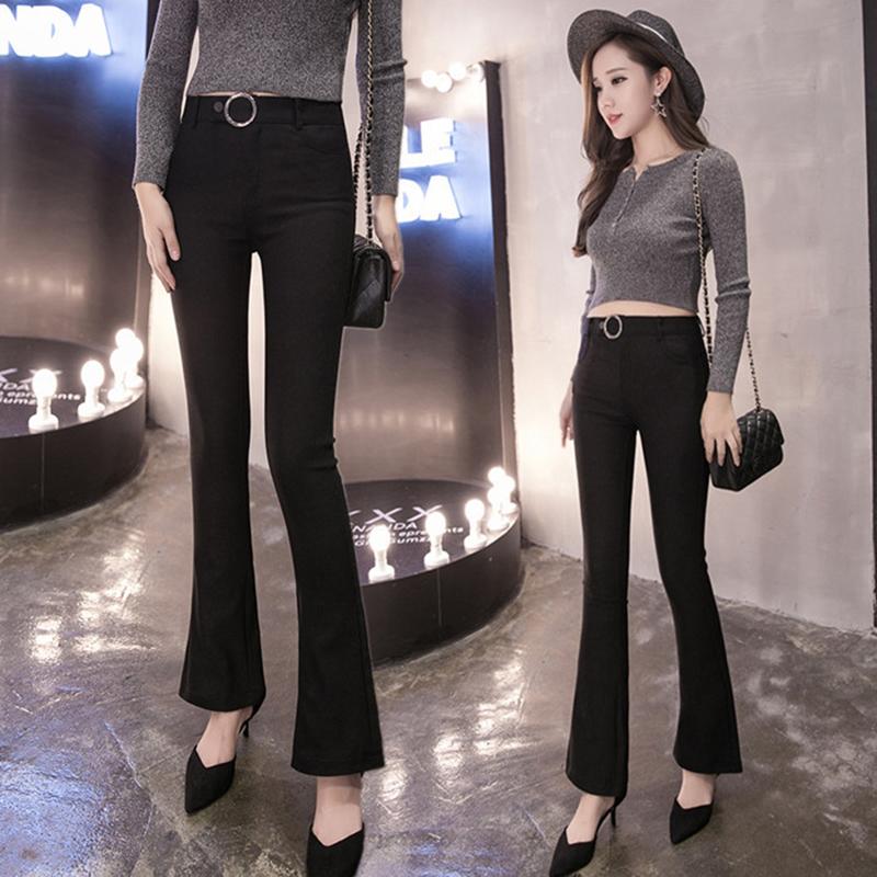 微喇叭裤女2020春装新款外穿打底裤修身显瘦高腰紧身休闲裤长裤潮