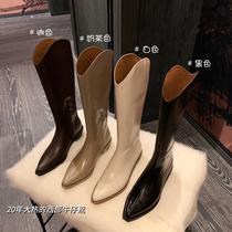 西部牛仔靴子新款粗跟尖头长筒靴女复古骑士靴危情邀约王小毒