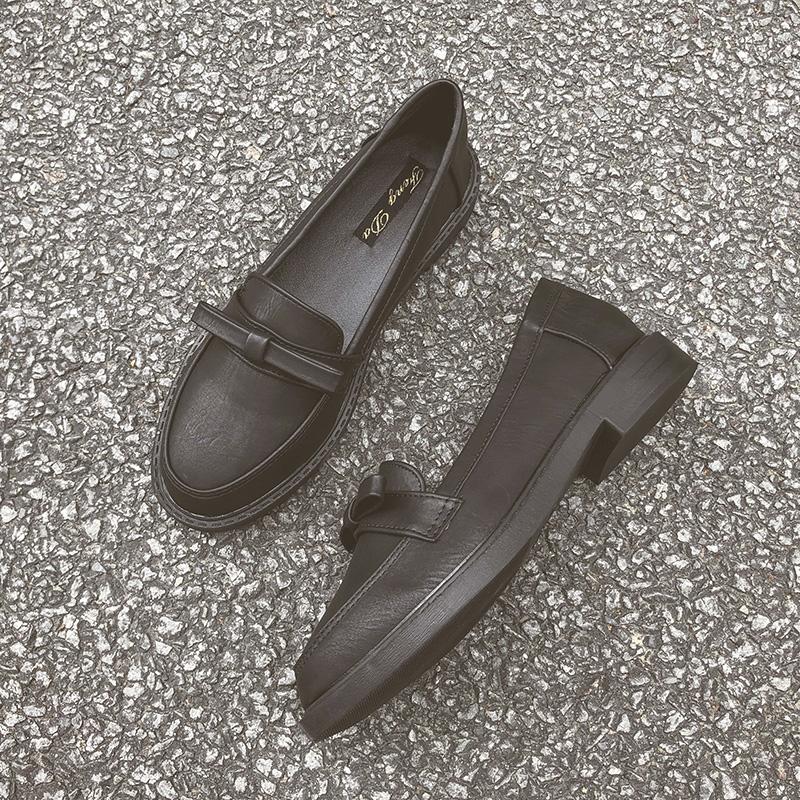 蝴蝶结黑色平底英伦风复古小皮鞋