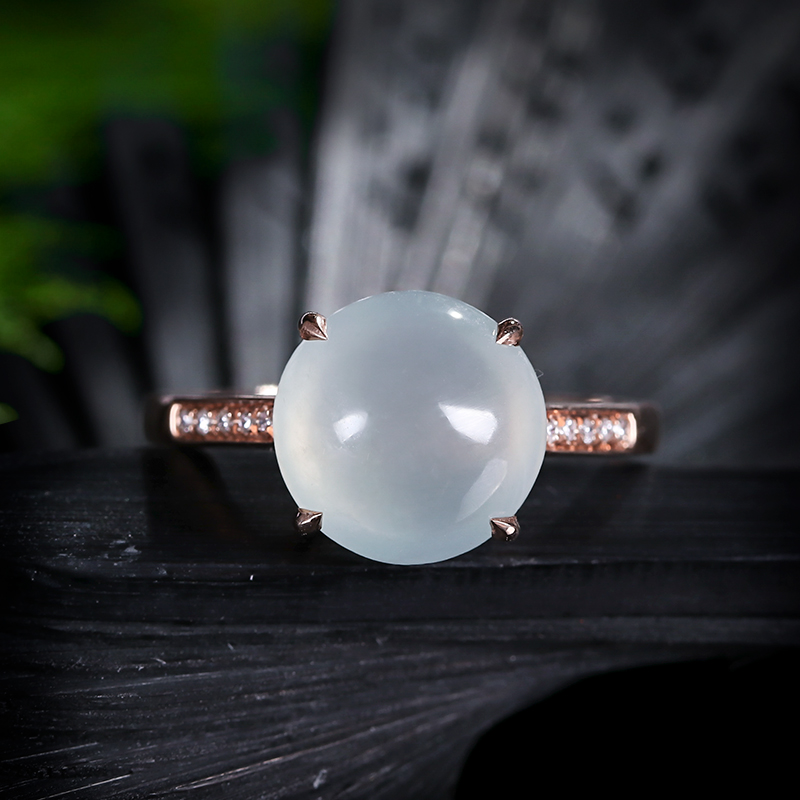 Miaoyin Baoyu high ice Ring 18k rose gold inlaid with natural Myanmar Jadeite high ice egg surface hand ring