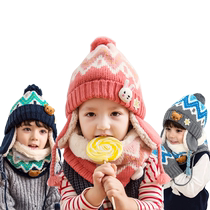 Childrens hat scarf two set autumn and winter boys girl neck warm velvet baby hat winter ear Protectors hat Tide