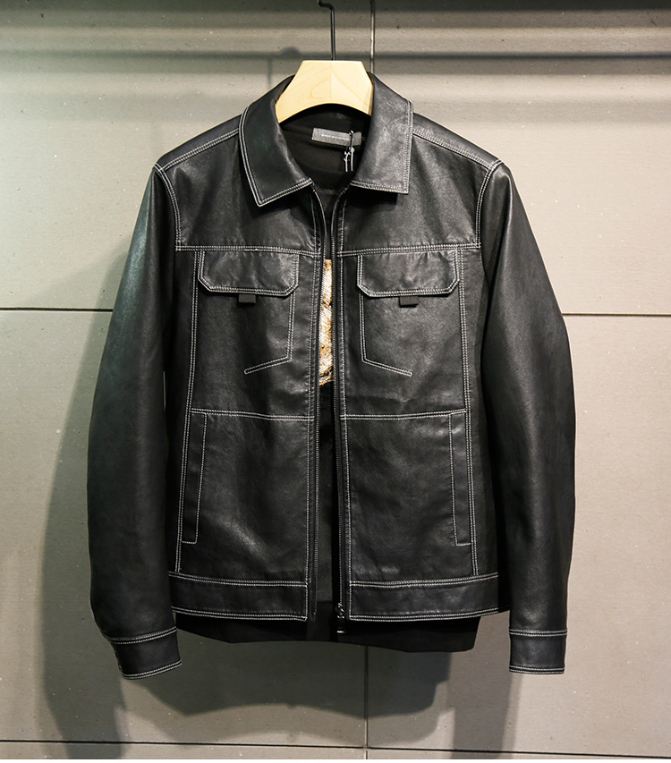 Lapel leather jacket mens short 2020 new Korean slim personality leather jacket spring and autumn PU leather embroidered coat mens