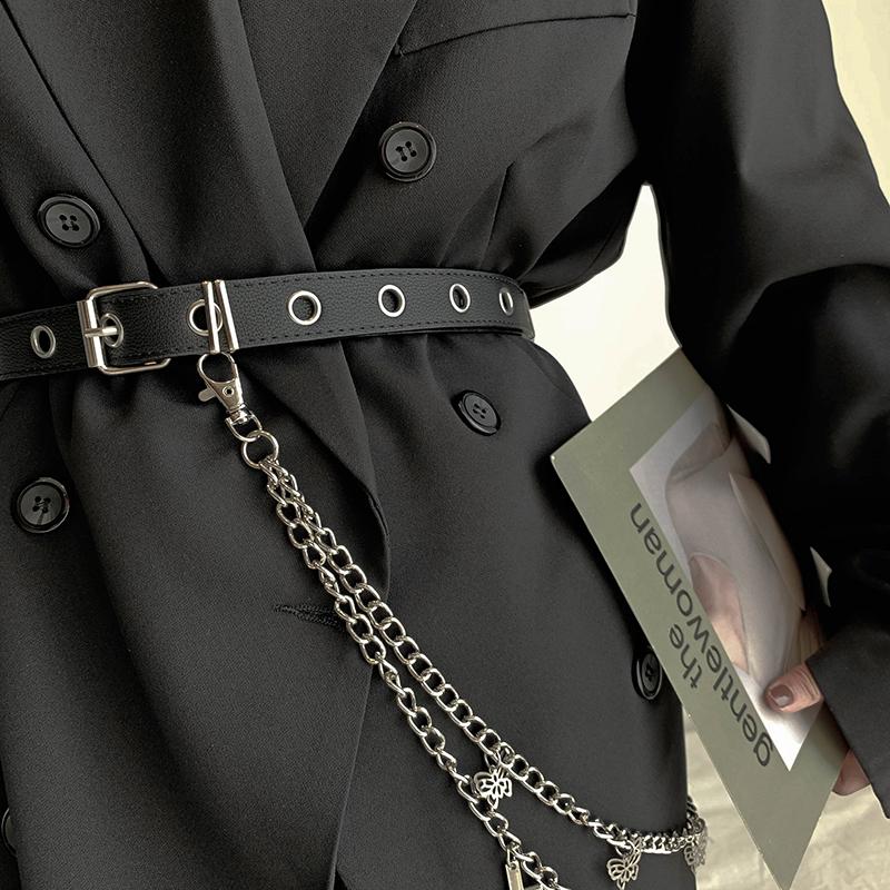皮带女牛仔裤 百搭欧美简约复古朋克风十字架金属腰链配裙子腰带
