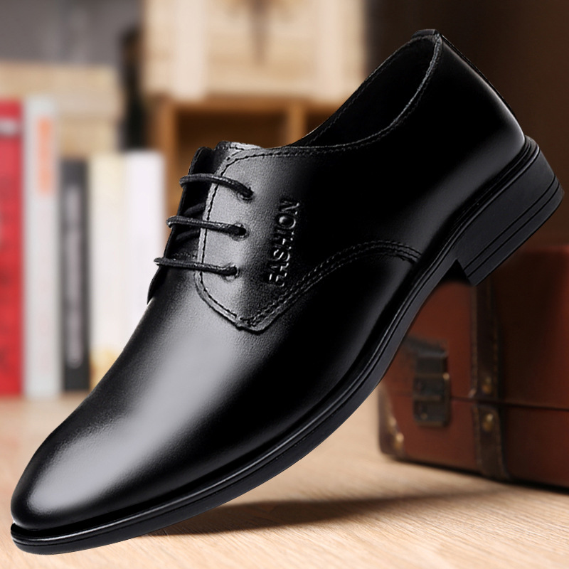 Spring and autumn four season business casual leather shoes mens formal wear all kinds of lace up soft leather non slip shoes mens work shoes