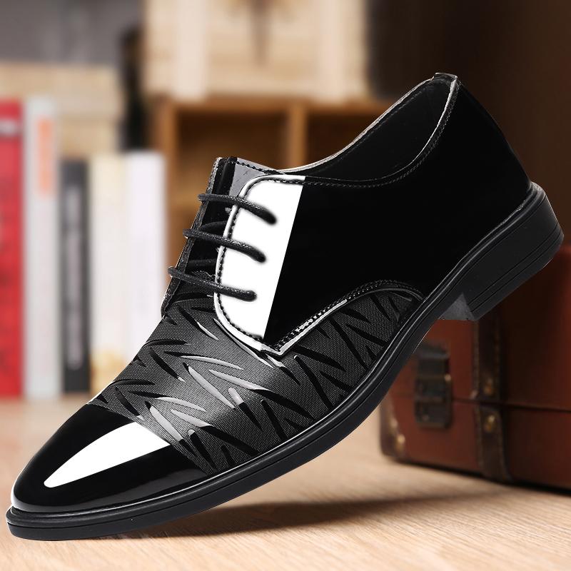 男士休闲皮鞋男软皮韩版潮流黑色软面皮英伦商务秋季男鞋冬季鞋子图片