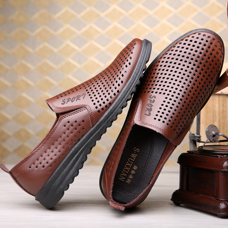 2020 new summer breathable mens sandals hollow mens shoes casual cool shoes hole shoes antiskid mens leather shoes