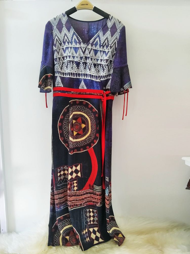 【lookcara】! 100% silk silk short sleeve long skirt beach skirt ethnic style - blue purple