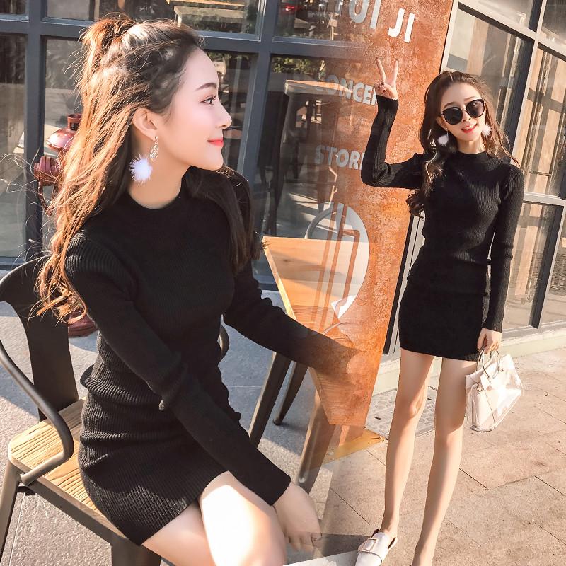 限3000张券秋冬包臀连衣裙女2019小个子半高圆领黑色中长款显瘦毛针织打底裙