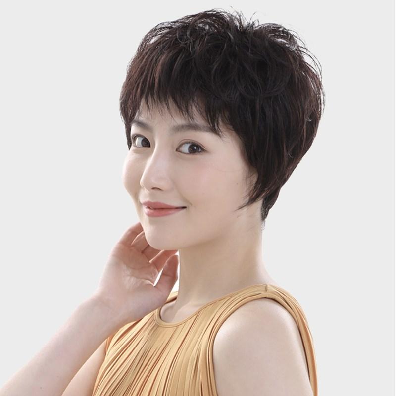 中老年假发女短发送妈妈真发女士全头套式蓬松自然真人发丝假发套