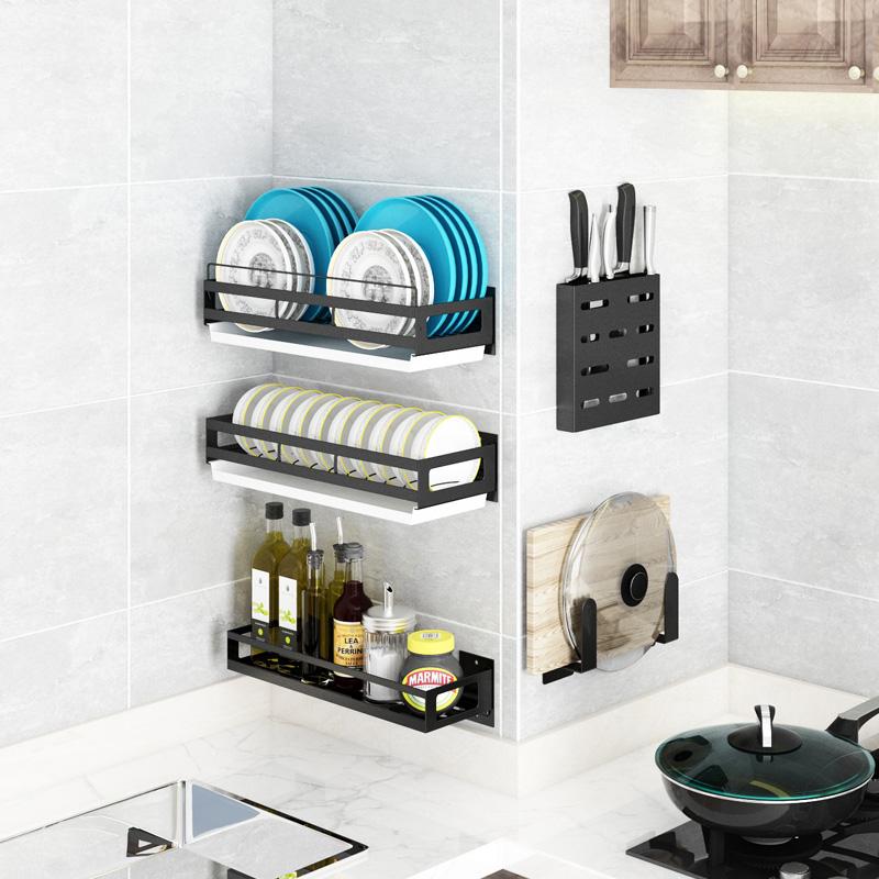 不包邮免打孔厨房碗碟架厨房用品锅盖壁挂