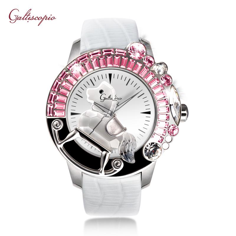 Galtiscopio手表女迦堤腕表轻奢石英表3D粉晶木马时尚大气款手表