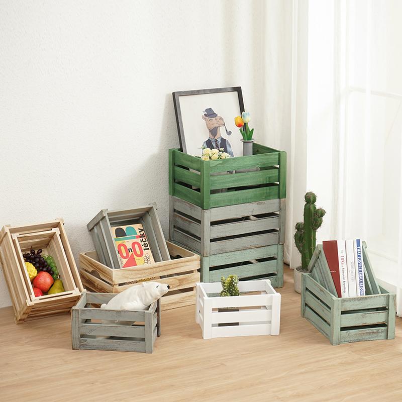 收纳储物箱长方形复古箱简易抽屉水果筐实木木质收纳筐家用杂货箱满38.00元可用19元优惠券