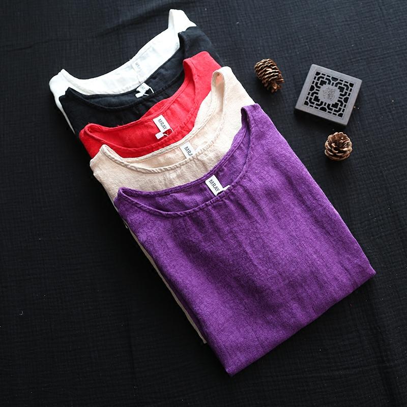 择壹原创 布衣风格宽松休闲机理感棉麻圆领套头短袖T恤女式上衣