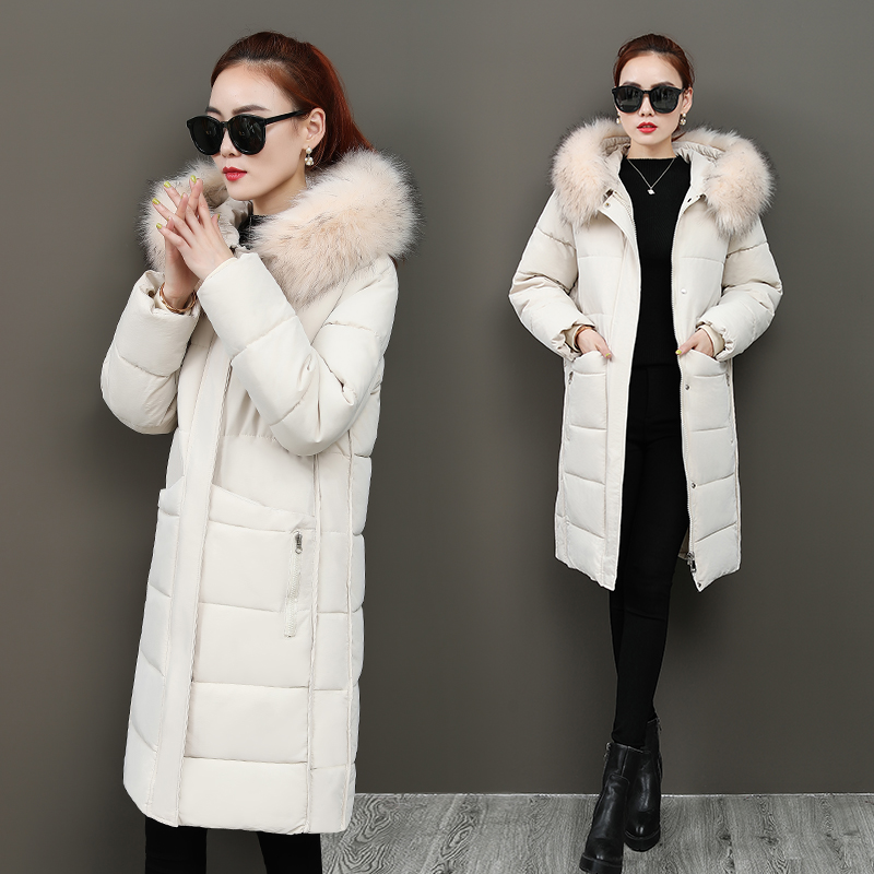 2020 off season new cotton padded womens middle and long style Korean fashion large hairy collar cotton padded jacket with thickened down jacket for women