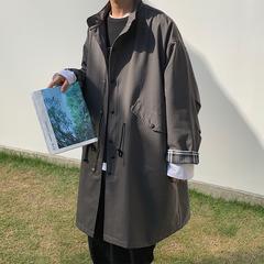 2020春新款男士宽松格子拼接袖长款风衣W19150-P118(不低于138)