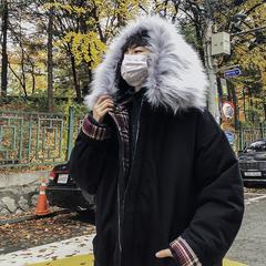 格子拼接加厚连帽中长款毛领棉衣W8492-P158(不低于178)