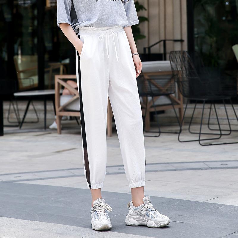 白色条纹宽松夏季ins潮显瘦运动裤热销0件买三送一