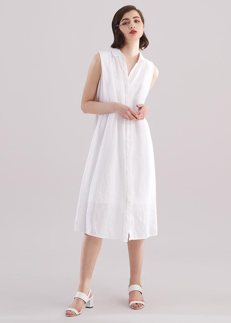 新款《念想》白色简约宽松廓形系带文艺苎麻无袖透气舒适连衣裙