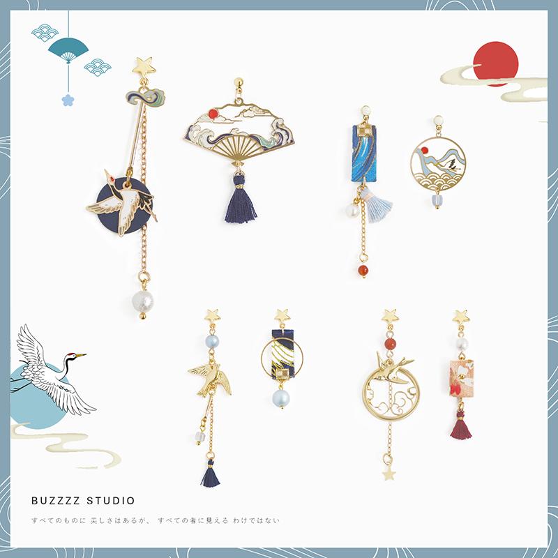 仙鹤与燕子 2020新款耳针日式日系925银个性长款不对称耳环耳饰女