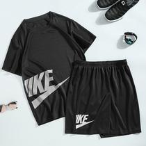 男士短袖冰丝套装夏季2020新款韩版潮流衣服运动休闲帅气男装