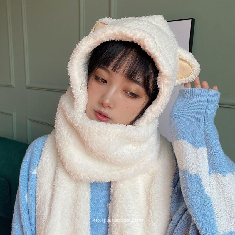 韩版帽子围巾手套一体女冬卡通可爱猫耳朵加厚保暖三件套学生围脖
