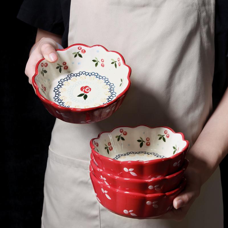 日式樱花碗碟套装家用可爱创意个性碗盘好看漂亮的水果沙拉碗餐具