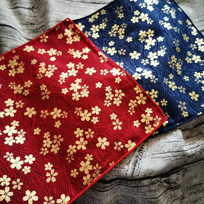 【C】客供进口面料 出口日本 棉手帕 方巾 樱花款 双色